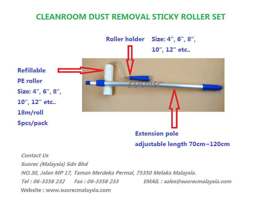 Sticky roller holder & extension pole